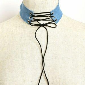 Jewelry - Front tie denim choker